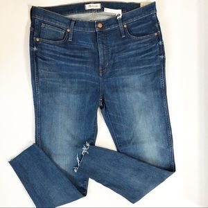 "Madewell 9"" High Rise Raw Hem Skinny Jeans Size 34"